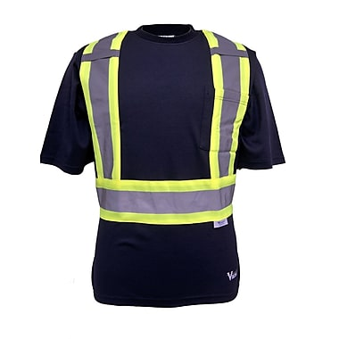 Viking UPF 50+ Rating T-Shirt, Velcro Sealed Chest Pocket, Radio Clip Strap, Navy, Large (6000N-L)