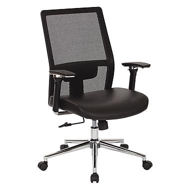 OSP - Fauteuil de direction à dossier élevé en mailles avec siège en cuir reconstitué, noir