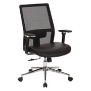 Office Star Mesh High Back Managers Chair with Bonded Leather Seat, Black