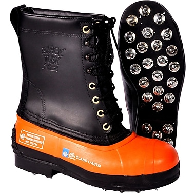 Viking Black Tusk Forestry Boot, Leather Upper/Rubber Bottom, Steel Toe, Cut Resistant Ballistic Nylon