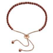 "Allegro STP000118, 3 3/4 CT TGW Garnet Tassel Bolo Bracelet in Rose Plated Sterling Silver, 10"""