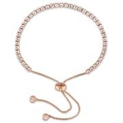 """Allegro STP000117, 3 3/4 CT TGW White Topaz Tassel Bolo Bracelet in Rose Plated Sterling Silver, 5-10"""""""