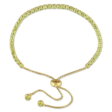 Allegro STP000119, 3 1/4 CT TGW Peridot Tassel Bolo Bracelet in Yellow Plated Sterling Silver, 5-10