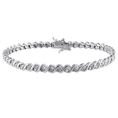 Allegro STP000141, 1 CT TW Diamond S-Shape Tennis Bracelet in Sterling Silver, 7.25
