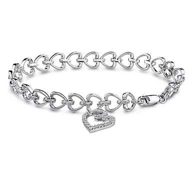 Allegro STP000128, 1/2 CT TW Diamond Heart Charm Bracelet in Sterling Silver, 7