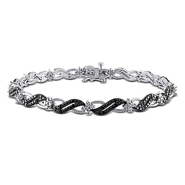 Allegro STP000140, 1/4 CT TW Black Diamond Infinity Link Bracelet in Sterling Silver with Black Rhodium, 7