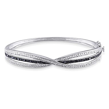 Allegro STP000134, 1/2 CT TW Black Diamond Triple Row Crisscross Bangle in Sterling Silver with Black Rhodium, 7