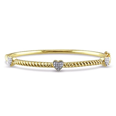 Allegro STP000137, 1/8 CT TW Diamond Bangle with Heart Stations in Yellow Plated in Sterling Silver, 7