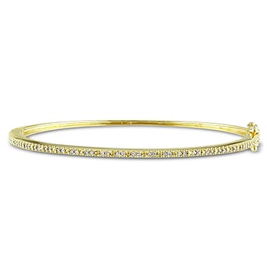 Allegro STP000139, 1/4 CT TW Diamond Tennis Bangle in Yellow Plated Sterling Silver, 7