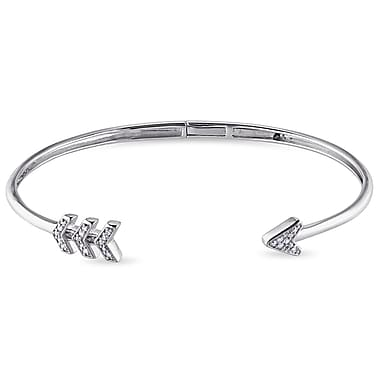 Allegro STP000159, 1/10 CT TW Diamond Arrow Cuff Bangle in Sterling Silver, 7