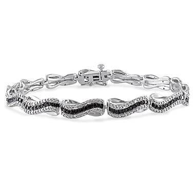 Allegro STP000142, 1/2 CT TW Black and White Diamond Wave Link Bracelet in Sterling Silver with Black Rhodium, 7.25