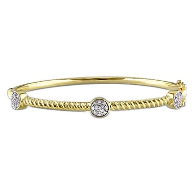 Allegro STP000135, 1/6 CT TW Diamond Bangle with Round Stations in Yellow Plated Sterling Silver, 7