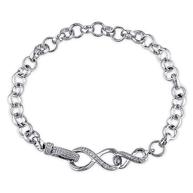 Allegro STP000162, 1/10 CT TW Diamond Infinity Link Bracelet in Sterling Silver, 7.5