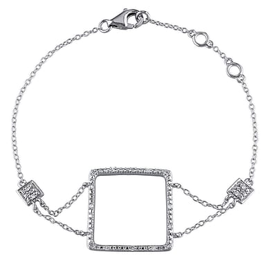 Allegro STP000145, 1/10 CT TW Diamond Square Bracelet in Sterling Silver, 7.25