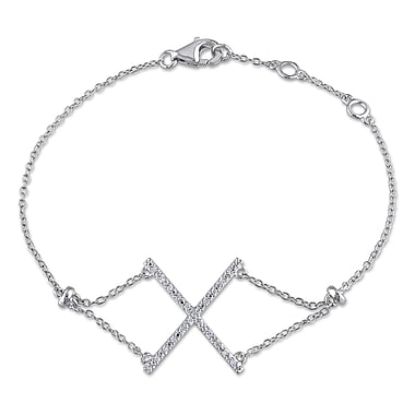 Allegro STP000146, 1/10 CT TW Diamond Geometric Bracelet in Sterling Silver, 7.25