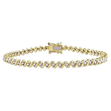 Allegro STP000167, 1/2 CT Diamond Tennis Bracelet in Yellow Plated Sterling Silver, 7.5