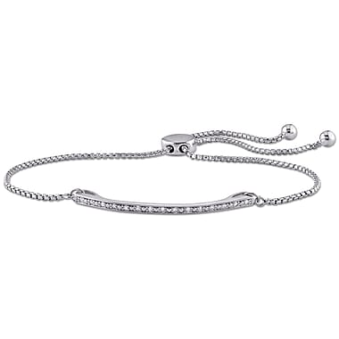 Allegro STP000168, 1/10 CT Diamond Slider Bracelet in Sterling Silver, 10
