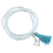 Allegro STP000174, Amazonite Bead Bracelet with Green Tassel and Dove Charm in Sterling Silver, 20""