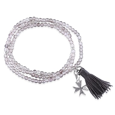 Allegro STP000176, Grey Agate Bead Bracelet with Grey Tassel and Cross Charm in Sterling Silver, 20