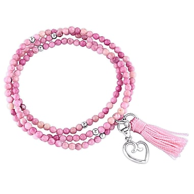 Allegro STP000171, Rhodonite Bead Bracelet with Pink Tassel and Heart Charm in Sterling Silver, 20