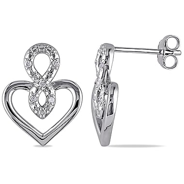 Allegro STP000056, Diamond Infinity Heart Earrings in Sterling Silver