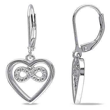 Allegro STP000057, Diamond Infinity Heart Leverback Earrings in Sterling Silver