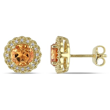 Allegro STP000066, 1/10 CT TW Diamond and Citrine Halo Stud Earrings in Yellow Plated Sterling Silver
