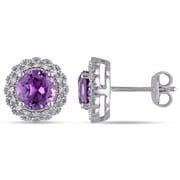 Allegro STP000068, 1/10 CT TW Diamond and Amethyst Halo Stud Earrings in Sterling Silver