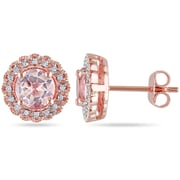 Allegro STP000060, 1/10 CT TW Diamond And Morganite Halo Stud Earrings in Rose Plated Sterling Silver