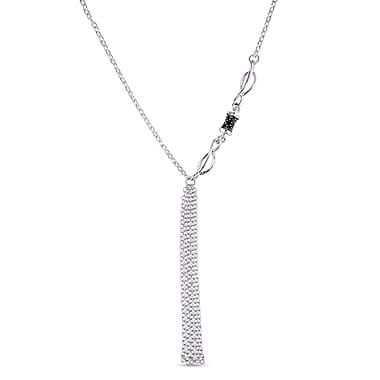 Allegro STP000169, Black Spinel Lariat Tassel Necklace in Sterling Silver, 28