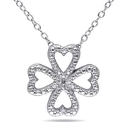 """Allegro STP000052, Diamond Clover Heart Pendant with Chain in Sterling Silver, 18"""""""