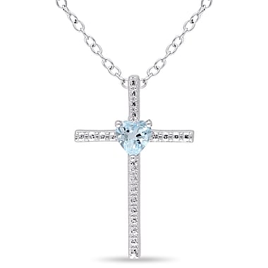 Allegro STP000004, Blue Topaz Cross Heart Pendant with Chain in Sterling Silver, 18