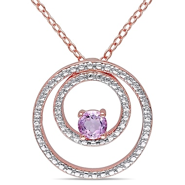 Allegro STP000007, Rose de France Double Circle Pendant with Chain in Rose Plated Sterling Silver, 18