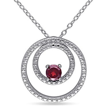 Allegro STP000040, Garnet Double Circle Pendant with Chain in Sterling Silver, 18