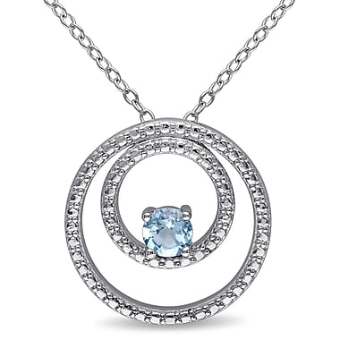 Allegro STP000041, Blue Topaz Double Circle Pendant with Chain in Sterling Silver, 18