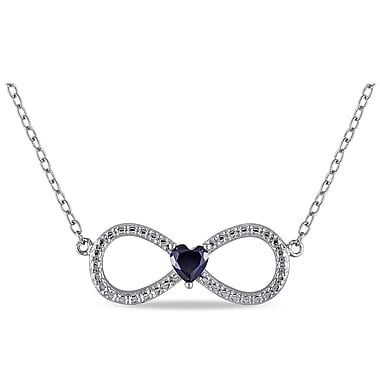 Allegro STP000017, Created Blue Sapphire Infinity Heart Necklace in Sterling Silver, 18
