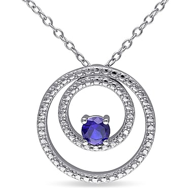Allegro STP000042, Created Blue Sapphire Double Circle Pendant with Chain in Sterling Silver, 18