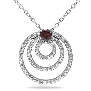 Allegro STP000010, Garnet Triple Circle Heart Pendant with Chain in Sterling Silver, 18