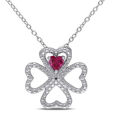 Allegro STP000013, Created Ruby Clover Heart Pendant with Chain in Sterling Silver, 18