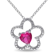 """Allegro STP000024, Created Ruby Floral Heart Pendant with Chain in Sterling Silver, 18"""""""