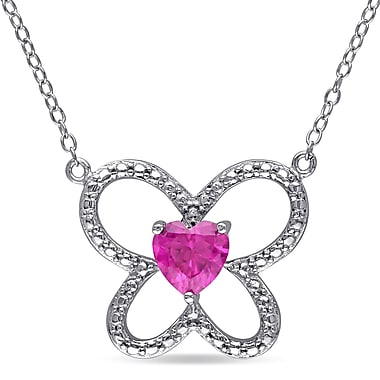 Allegro STP000022, Created Ruby Butterfly Heart Necklace in Sterling Silver, 18