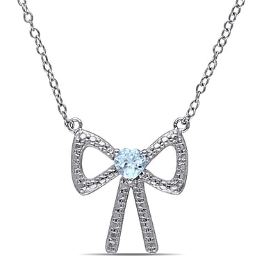 Allegro STP000038, Heart Cut Blue Topaz Heart Bow Necklace in Sterling Silver, 18
