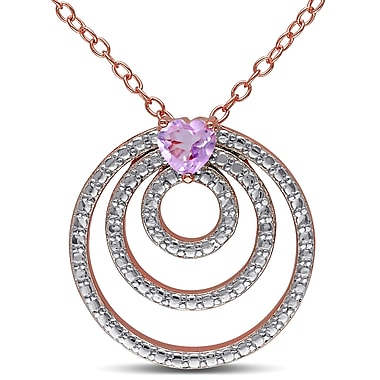 Allegro STP000043, Rose De France Triple Circle Heart Pendant with Chain in Rose Plated Sterling Silver, 18
