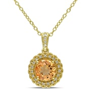 """Allegro STP000062, 1/10 CT TW Diamond and Citrine Halo Pendant with Chain in Yellow Plated Sterling Silver, 18"""""""