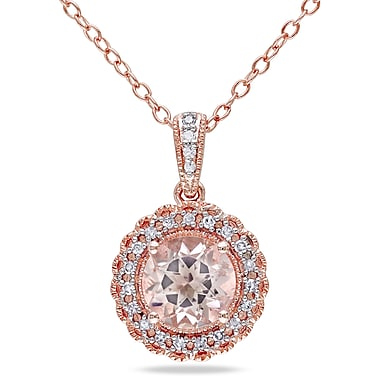 Allegro STP000058, 1/10 CT TW Diamond and Morganite Halo Pendant with Chain in Rose Plated Sterling Silver, 18