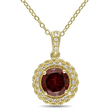 Allegro STP000061, 1/10 CT TW Diamond and Garnet Halo Pendant with Chain in Yellow Plated Sterling Silver, 18