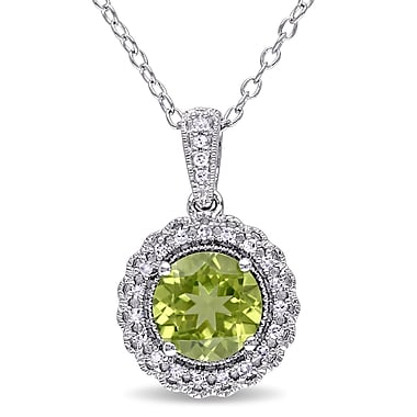 Allegro STP000063, 1/10 CT TW Diamond and Peridot Halo Pendant with Chain in Sterling Silver, 18