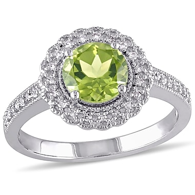 Allegro STP000075, 1/8 CT TW Diamond and Peridot Halo Ring in Sterling Silver, size 7