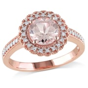 Allegro STP000059, 1/8 CT TW Diamond and Morganite Halo Ring in Rose Plated Sterling Silver