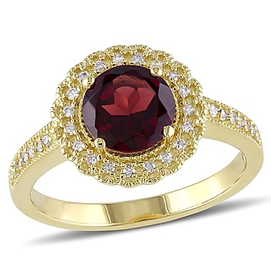 Allegro STP000071, 1/8 CT TW Diamond and Garnet Halo Ring in Yellow Plated Sterling Silver, size 10
